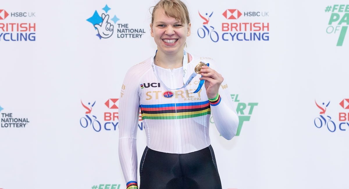 Picture by Allan McKenzie/SWpix.com - 01/12/2019 - Cycling - Manchester International Para-Cycling - HSBC UK National Cycling Centre, Manchester, England - Great Britain's Katie Toft takes gold in the C1 3km pursuit.