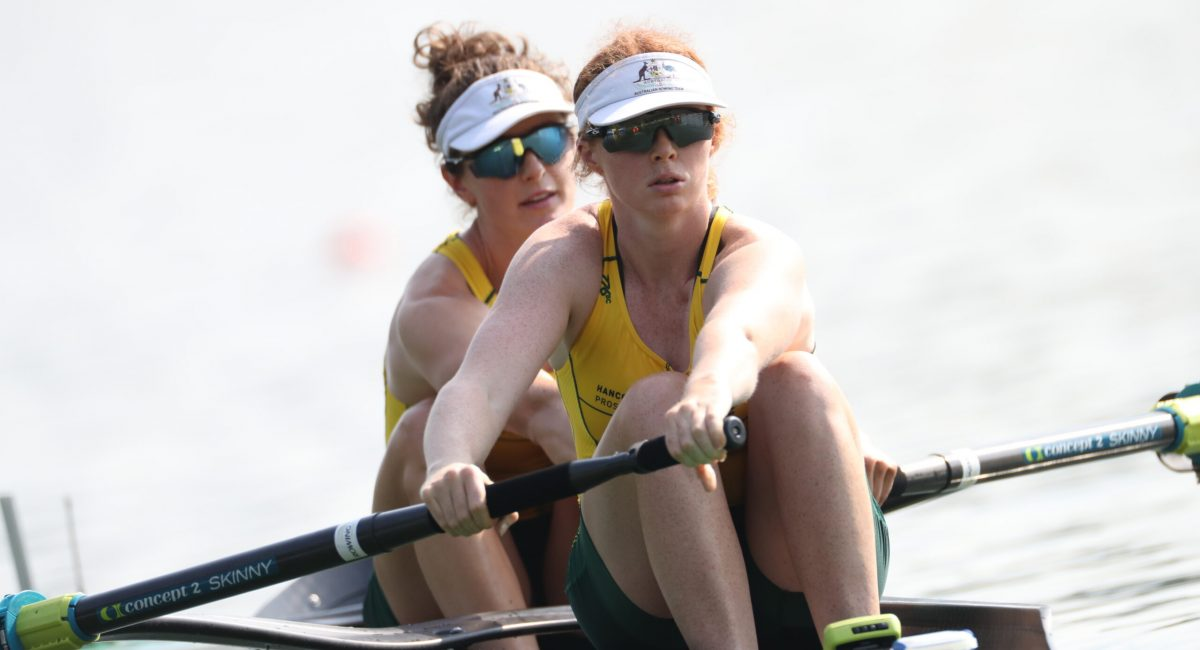 The Women's Pair at the start - Copyright Rowing Australia